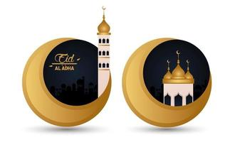 eid al adha celebration card with moons and mosque vector