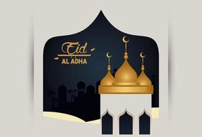 eid al adha celebration card with mosque vector