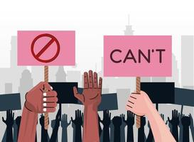 interracial hands protesting lifting banners with cant word and stop symbol on the city vector
