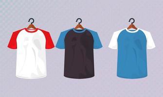 three mockup shirts hanging vector