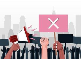 interracial people hands protesting lifting banner with x and megaphone on the city vector