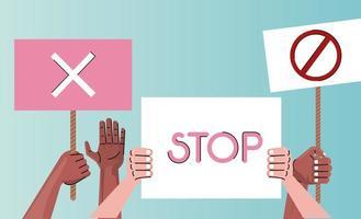 interracial hands protesting lifting banners vector