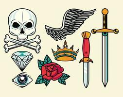 set of colorful tattoos graphics vector