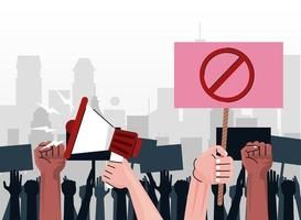 interracial people hands protesting lifting banner with stop symbol and megaphone on the city vector