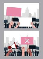 interracial hands people protesting lifting banners and megaphone scenes vector