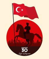 Celebración de zafer bayrami con soldado a caballo ondeando la bandera vector