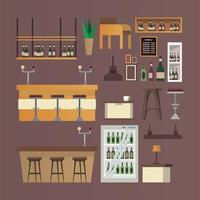 bundle of bar and restaurant furniture icons vector