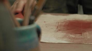 Ceramist Work in The Workshop with Red Clay video