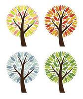 Abstract  4 Seasons Vector Tree Collection Set Illustration