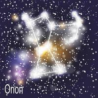 Orion Constellation with Beautiful Bright Stars on the Background of Cosmic Sky Vector Illustration
