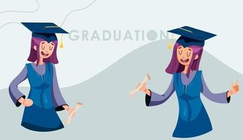 Girls graduating in a gown with a certificate vector