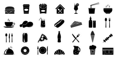 Food courts icons set vector