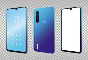 tres iconos de dispositivos de teléfonos inteligentes de maqueta vector