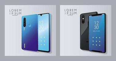 cuatro iconos de dispositivos de teléfonos inteligentes de maqueta vector