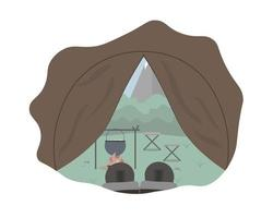 View from inside the tourist camping tent in the forest and mountains with boots Local vacation Concept vector illustration