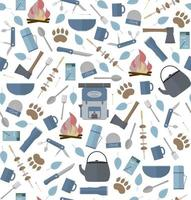 Seamless pattern with elements for hiking or camping Flat vector illustration