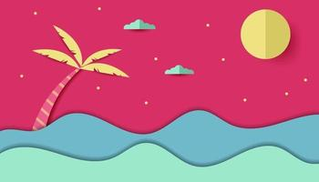 summer festival in papercut style vector