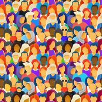 Big crowd of different race people seamless pattern vector