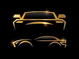 logotipo de coche deportivo dorado y plateado vector