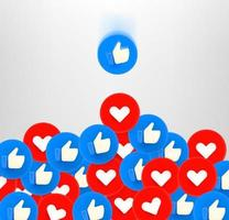 Thumb up and heart social media reaction 3d buttons falling down vector