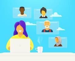Woman makes video webinar vector