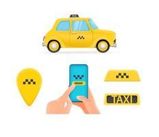 Taxi service elements vector