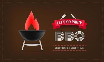 BBQ party horizontal poster design vector