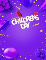 banner de saludo vertical del día internacional del niño con espacio de copia vector