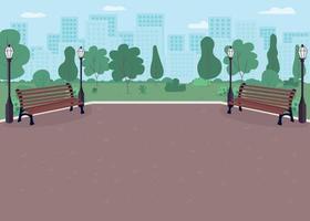 Park plaza flat color vector illustration
