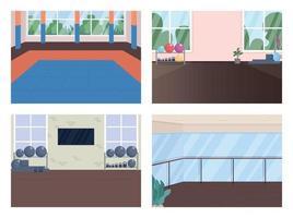 Gym room flat color vector illustration set