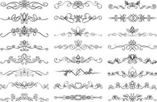 Floral text divider set Colection of text dividing flourish linear ornaments with floral elements Vector paragraph dividers in black color isolated on white background
