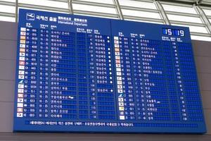 Seoul, Korea, Jan 06,2016 - Board of flight arrivals photo