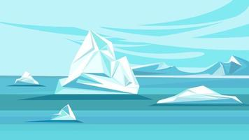 North Pole with melting icebergs vector