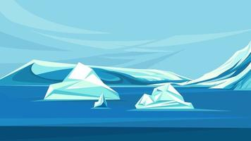Arctic ocean with melting ice vector