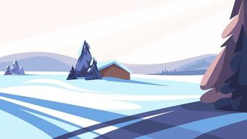 Winter landscape with coniferous trees vector