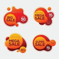 Set of sale badges with liquid color abstract geometric shapes vector
