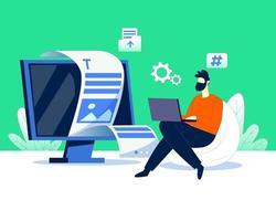 A man writing website code illustration concept vector