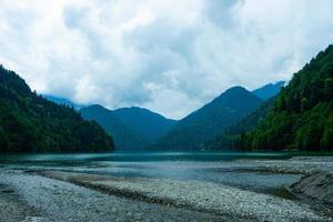 Natural landscape with a view of lake Ritsa photo