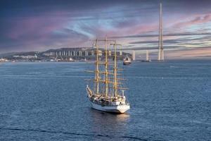 Seascape with a beautiful sailboat photo