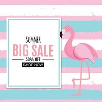 Fondo tropical abstracto con flamingo y marco vector