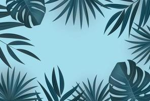 Natural Realistic Green Palm Leaves Tropical Background vector