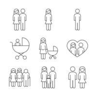 bundle of nine family parents set icons vector