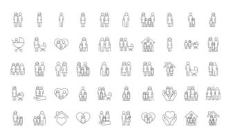 bundle of fifty family parents set icons vector