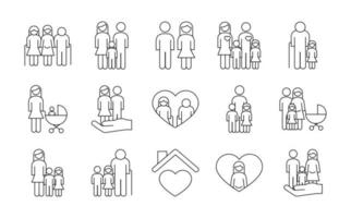 bundle of fifteen family parents set icons vector