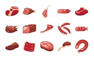 paquete de cortes de carne establecer iconos vector