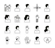 bundle of diversity people set icons vector