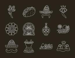 bundle of twelve mexican ethnicity set icons vector