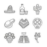 bundle of nine mexican ethnicity set icons vector