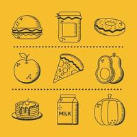 Food hand draw and line style icon set vector design