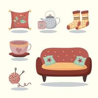 Hygge mood chair with basket vector design